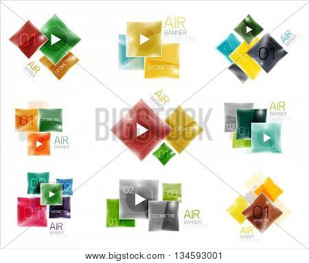Collection of colorful square web boxes. Vector illustration