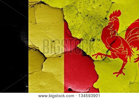 Flags Of Belgium And Wallonia Painted On Cracked Wall