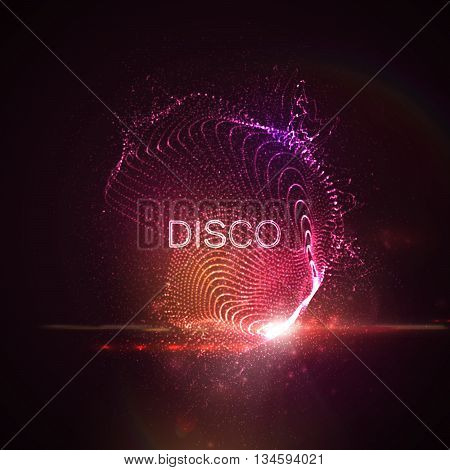 Disco neon sign. 3D illuminated abstract shape of glowing particles, wireframe, splashes and lens flare optical light effect. Disco party. Vector illustration.