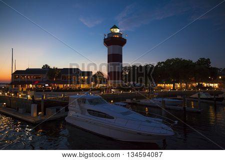 Twilight scene of harbor at Hilton Head, South Carolina