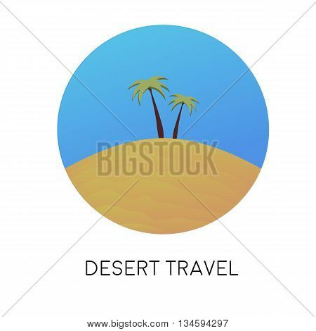 Desert landscape with palm trees. Vector illustration.