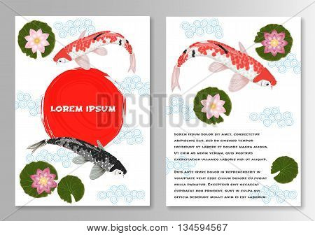 Carp Koi Asian style template brochure. Vector illustration