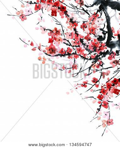 Watercolor and ink illustration in style sumi-e u-sin. Oriental traditional painting. Beautiful background for card or invitation.