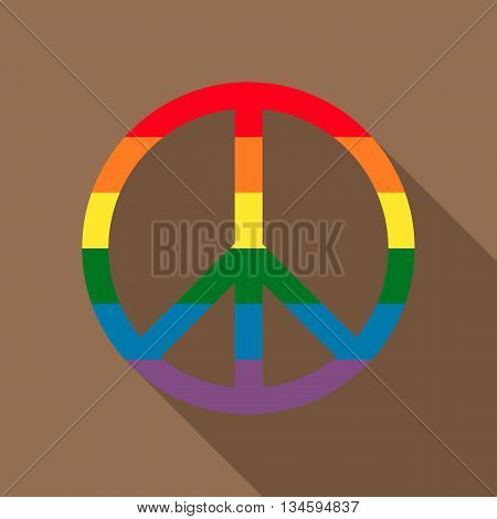 Pacific symbol in rainbow colors icon in flat style on a brown background