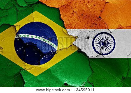 Flags Of Brazil And India Painted On Cracked Wall