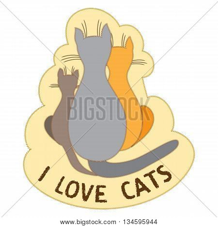 Family cats sit back together on a light yellow background. I love cats text. T-shirt design. Vector illustration. Child book picture. Applique clothes cat design