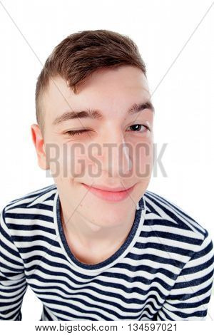 Funny guy grimacing wink the eye isolated on white background