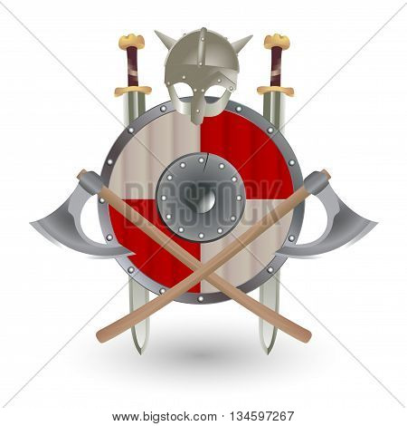 Set Viking equipment: shield, sword, ax and helmet, executed in the form of the emblem.