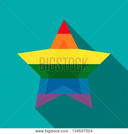 Star in rainbow colors icon in flat style on a turquoise background