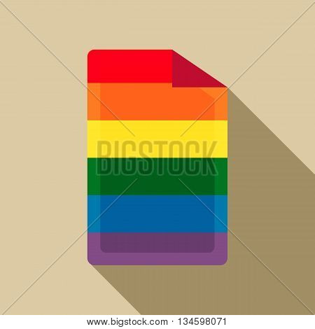 SIM card in rainbow colors icon in flat style on a beige background