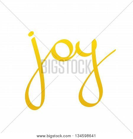 Vector hand drawn lettering word joy. Cute gradient word joy isolated on white background.
