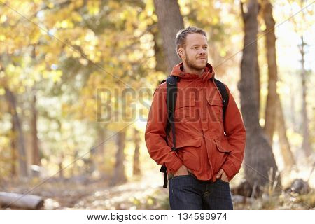 Young adult Caucasian man walking in a forest, close up