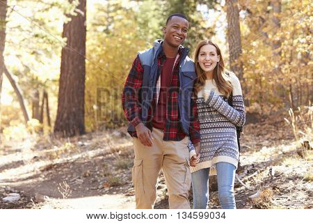 Smiling mixed race couple hike in a forest holding hands