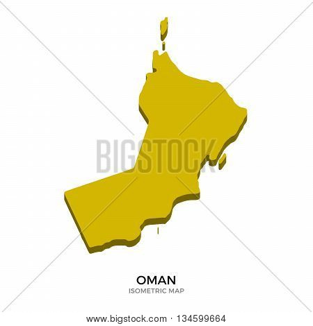 Isometric map of Oman detailed vector illustration. Isolated 3D isometric country concept for infographic