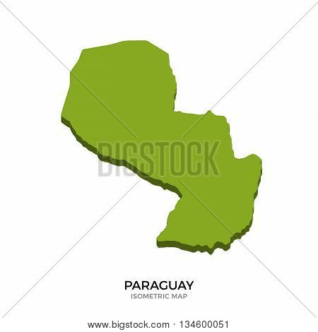 Isometric map of Paraguay detailed vector illustration. Isolated 3D isometric country concept for infographic