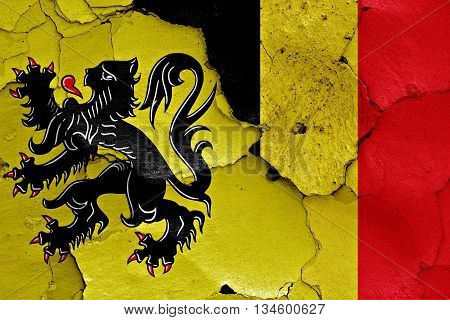 Flags Of Flanders And Belgium Painted On Cracked Wall