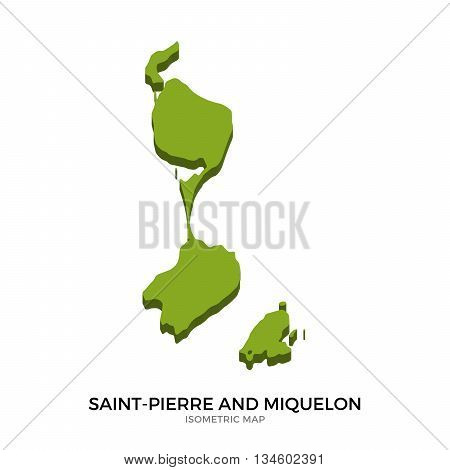 Isometric map of Saint-Pierre and Miquelon detailed vector illustration. Isolated 3D isometric country concept for infographic