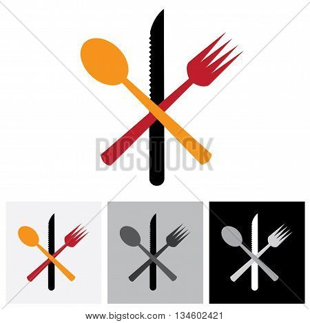 Abstract Icons & Symbols Of Spoon, Knife, Fork - Vector Logo Icon