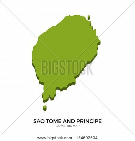 Isometric map of Sao Tome and Principe detailed vector illustration. Isolated 3D isometric country concept for infographic