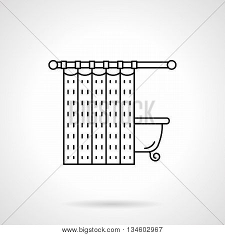 Bathroom elements with bath and curtain. Interior design for house, hotel. Special moisture resistant fabric. Flat line style vector icon.