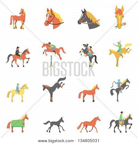 Vector icons set on white background with accessories for horse riding and equestrian sport isolated vector illustration.