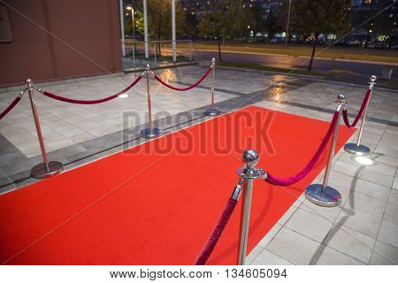 Red carpet between two red rope barriers.