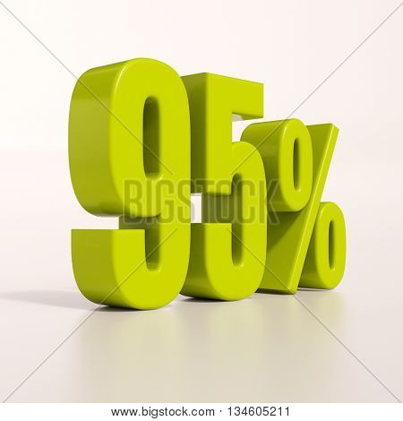 3d render: green 95 percent, percentage discount sign on white, 95%