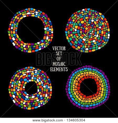 Mosaic textures. Vector Mosaic design elements on black background.