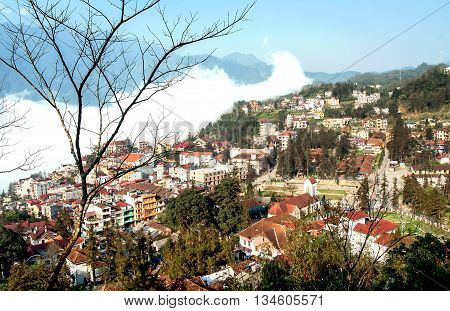 SAPA, VIETNAM, February 18, 2016 the town of Sa Pa, high mountains, Lao Cai province, Vietnam. At cloudy