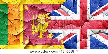 Sri lanka flag with Great Britain flag on a grunge cracked wall