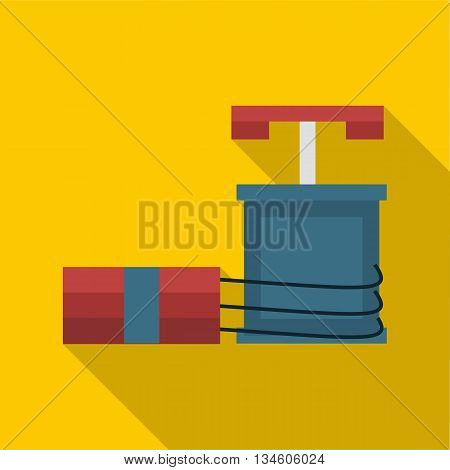 Dynamite and detonator icon in flat style on a yellow background