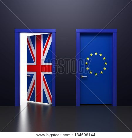 3D illustration of the door with signs UK and EU flags in the subject of the referendum on withdrawal from the association
