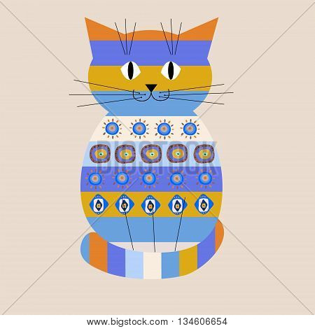 The decorative cat with a ethnic ornament
