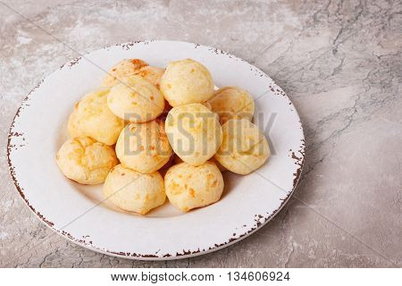 Brazilian Snack Cheese Bread (pao De Queijo) On Plate