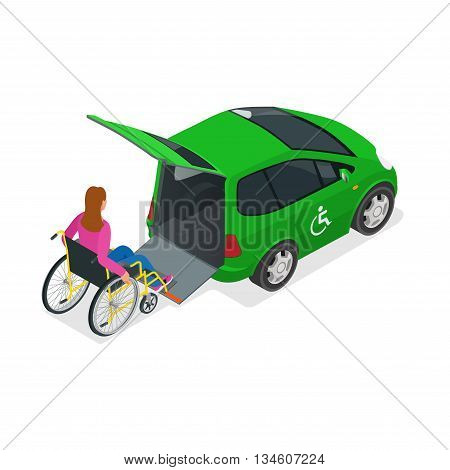 Taxi or car for woman on wheelchair. Vehicle with a lift. Mini car for physically disabled people. Flat 3d vector isometric illustration.