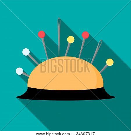Pincushion with pins icon in flat style on a turquoise background
