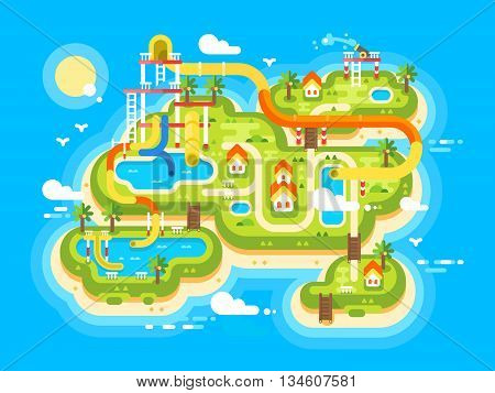 Aquapark plan flat. Outdoor park and summer holiday, resort travel, vector illustration
