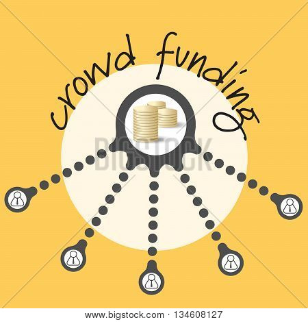 Vector circular object with theme of crowd funding