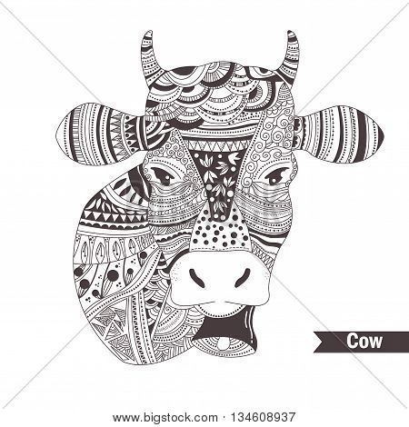 cow with a bell. Head. Doodle. Hand drawn vector isolated illustration on white background. Henna mehendi, tattoo sketch