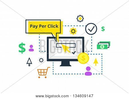 Pay per click vector illustration. Internet marketing, advertising concept in line and flat style.