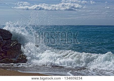 Waves hitting the coastal rocks, Spain SantaSusanna,2016