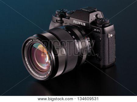 BERLIN, GERMANY - June 06, 2016: Fujifilm X-T1 Mirrorless  Digital Camera with 18 - 13m mm Lens