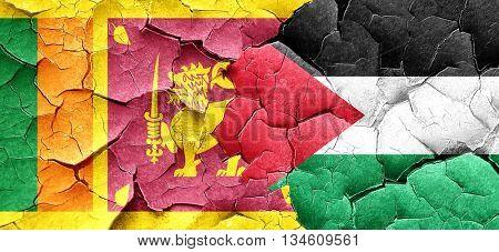 Sri lanka flag with Palestine flag on a grunge cracked wall