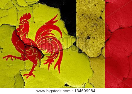 Flags Of Wallonia And Belgium Painted On Cracked Wall