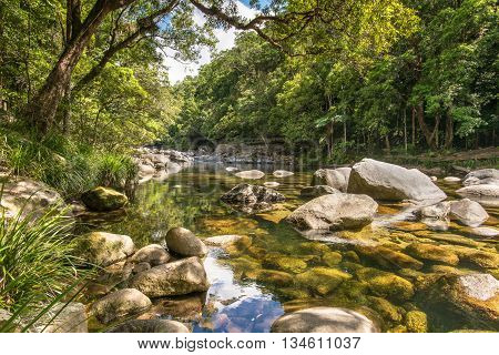 Mossman River Lookout in the Mossman Gorge, in the Daintree National Park, Queensland, Australia.