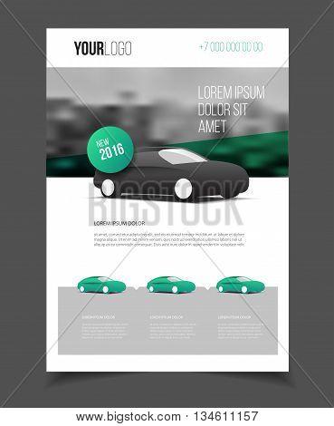 Car Brochure. Auto Leaflet Brochure Flyer Template A4 Size Design, Car Repair Business Catalogue Cov