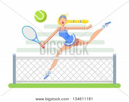 Woman tennis player cartoon character. Sport player girl, racket and ball, flat vector illustration
