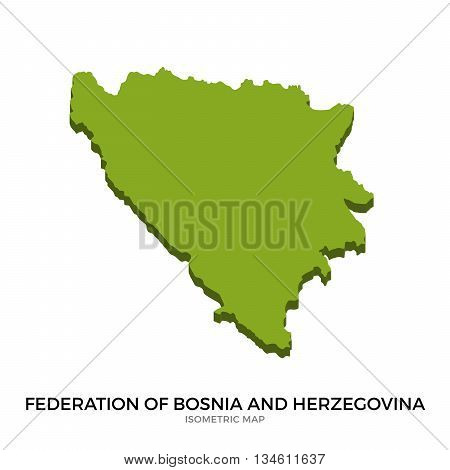 Isometric map of Federation of Bosnia and Herzegovina detailed vector illustration. Isolated 3D isometric country concept for infographic