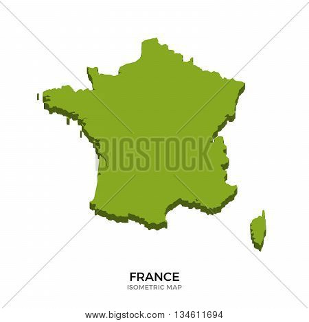 Isometric map of France detailed vector illustration. Isolated 3D isometric country concept for infographic