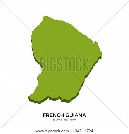 Isometric map of French Guiana detailed vector illustration. Isolated 3D isometric country concept for infographic